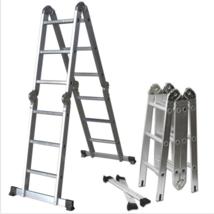 Aluminum Ladder Scaffold Heavy Duty Giant 12.5 ft Multi Purpose Fold Ste... - $99.95