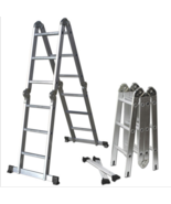 Aluminum Ladder Scaffold Heavy Duty Giant 12.5 ft Multi Purpose Fold Ste... - $99.95