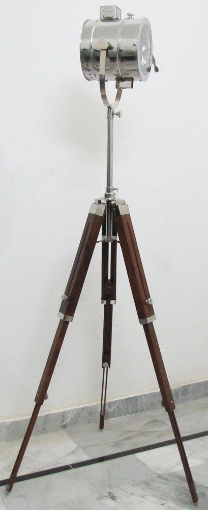 Nautical chrome spot light searchlight studio floor lamp for Eden 3 light tripod floor lamp chrome