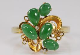VINTAGE 1970'S 14K YELLOW GOLD JADEITE GRASS GREEN CABOCHONS DIAMOND RIN... - $609.49