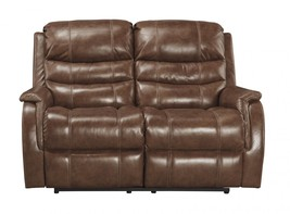 Ashley Metcalf Living Room Power Reclining Loveseat in Nutmeg Contemporary Style