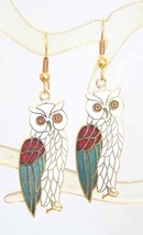 Elegant Ancient Style Genuine Cloisonne Enamel Owl Earrings 1970s vintage - $14.95