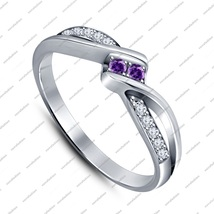 Purple Amethyst & CZ 925 Silver White Gold Plated Wedding Engagement Ban... - ₹5,240.48 INR
