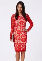 Red Open Back Lace Floral Pattern Midi Dress   - $21.95