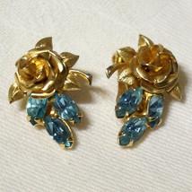 Beautiful Vintage Blue Rhinestone 3D Rose Clip On Earrings - $32.00