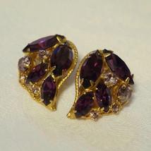Vintage Purple Lilac Rhinestone Clip On Earrings Fruit - $40.00