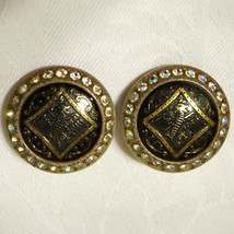 Huge Vintage 30s Celluloid Rhinestone Victorian Jet Dragon Runway Earrings - $68.00