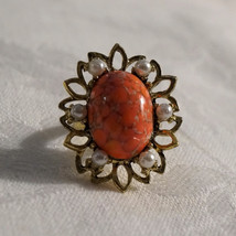Vintage 50s Chunky Faux Coral Art Glass & Pearl Cocktail Ring - $30.00