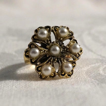 Vintage 50s Chunky Faux Pearl Flower Cocktail Ring - $25.00