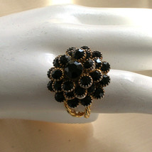 Vintage Czech W German French Jet Rhinestone Flower Ring Adjustable - $60.00