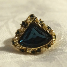 Vintage 50s Chunky Sapphire Rhinestone Pearl Ring Adjustable - €40,48 EUR