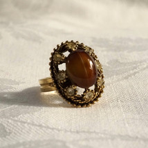 Vintage 50s Chunky Faux Tigereye Art Glass & Rhinestone Cocktail Ring - $30.00