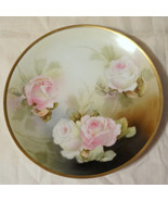 Vintage RS Prussia Germany Hand Painted Roses Plate Red Wreath Mark - $250.00