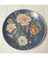 Signed Vintage Heavy Porcelain Enamel Collector Floral Plate Export Chin... - $49.99