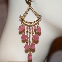 Art Nouveau Vintage Wire Wrapped Chandelier Earrings Art Glass Leverbacks - $44.00