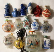 Antique Vintage Chinese Reverse Painted Glass Snuff Bottles Figural - $600.00