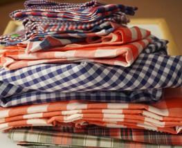 Vintage Plaid Gingham Fabric Lot Red Blue Fabri... - $30.00