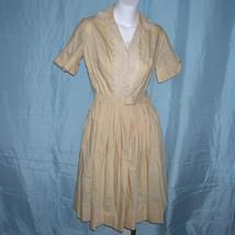 Vintage 50s 1950s Rockabilly Embroidered Floral Shirtwaist Day Dress - $75.00