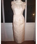 Vintage 50s 60s Gold Lame' Brocade Wiggle Dress Evening Gown - $95.00
