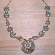 SALE Vintage Art Nouveau Florentine Necklace Antique Filigree Glass Choker - $40.00