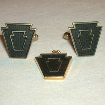 Vintage Harvale Gold Plate Japanned Shield Cufflinks Cuff Links & Pendant - $30.00
