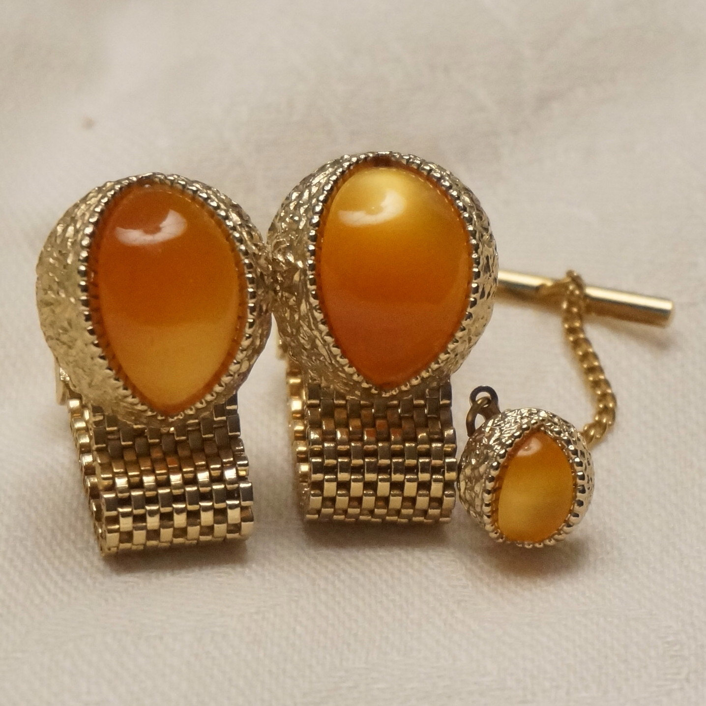 Vintage swank cufflinks wrap around gold mesh moonstone for What is swank jewelry
