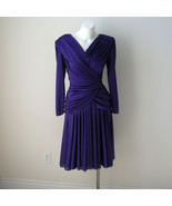 Vintage Abby Kent Spandex Disco Swing Dress Glam 80s Ruched Cocktail Dress - $65.00