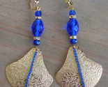 OOAK Cobalt Rhinestone Crystal Fan Runway Earrings Antique Cobalt Faceted Crysta