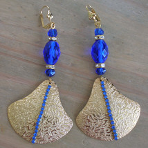 OOAK Cobalt Rhinestone Crystal Fan Runway Earrings Antique Cobalt Facete... - $39.00