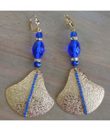 OOAK Cobalt Rhinestone Crystal Fan Runway Earrings Antique Cobalt Faceted Crysta - $39.00