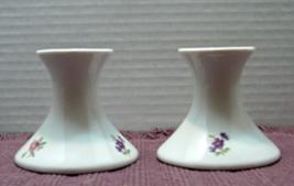 Vintage Floral Design Simple Elegant Made in USA Porcelain Pillar Candle Holders - $11.25