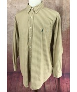 Ralph Lauren Polo Yarmouth Button Down Long Sleeve Brown Stripe Men's 17... - $15.83