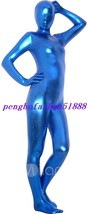 Halloween Cosplay Suit Blue Shiny Metallic Full Body Suit Catsuit Costumes S418 - $32.99