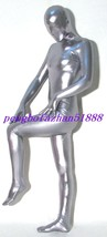 Halloween Suit Silver Gray Shiny Metallic Full Body Suit Catsuit Costumes S424 - $32.99