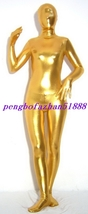 Halloween Cosplay Suit Gold Shiny Metallic Full Body Suit Catsuit Costumes S426 - $32.99