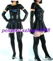 SEXY BLACK SHINY METALLIC SEXY WOMEN'S DRESS WITH LONG GLOVES & LONG SOC... - $45.99