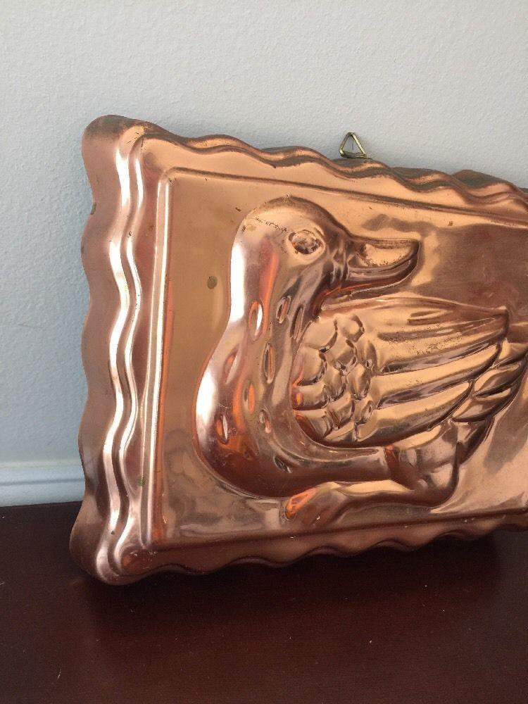 Vintage Copper Metal Tone Duck Ducky Jello Mold Rectangle Wall Decor image 4