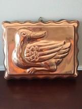 Vintage Copper Metal Tone Duck Ducky Jello Mold Rectangle Wall Decor image 3