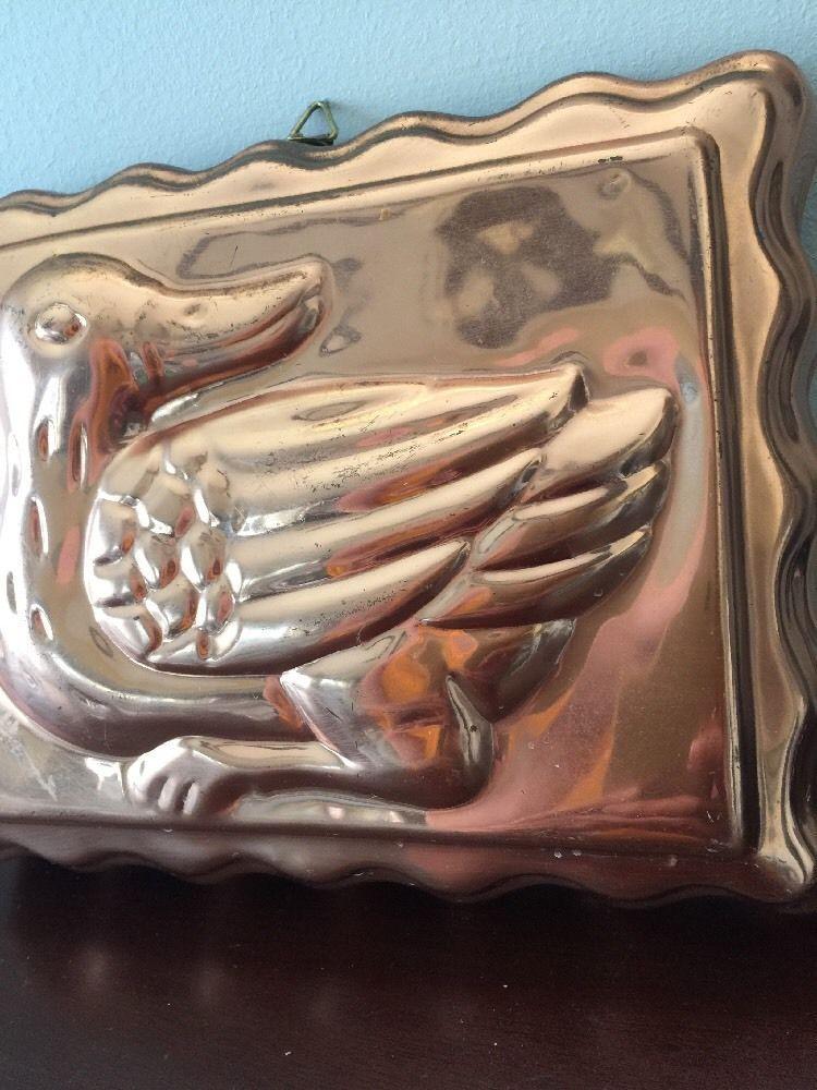 Vintage Copper Metal Tone Duck Ducky Jello Mold Rectangle Wall Decor image 6