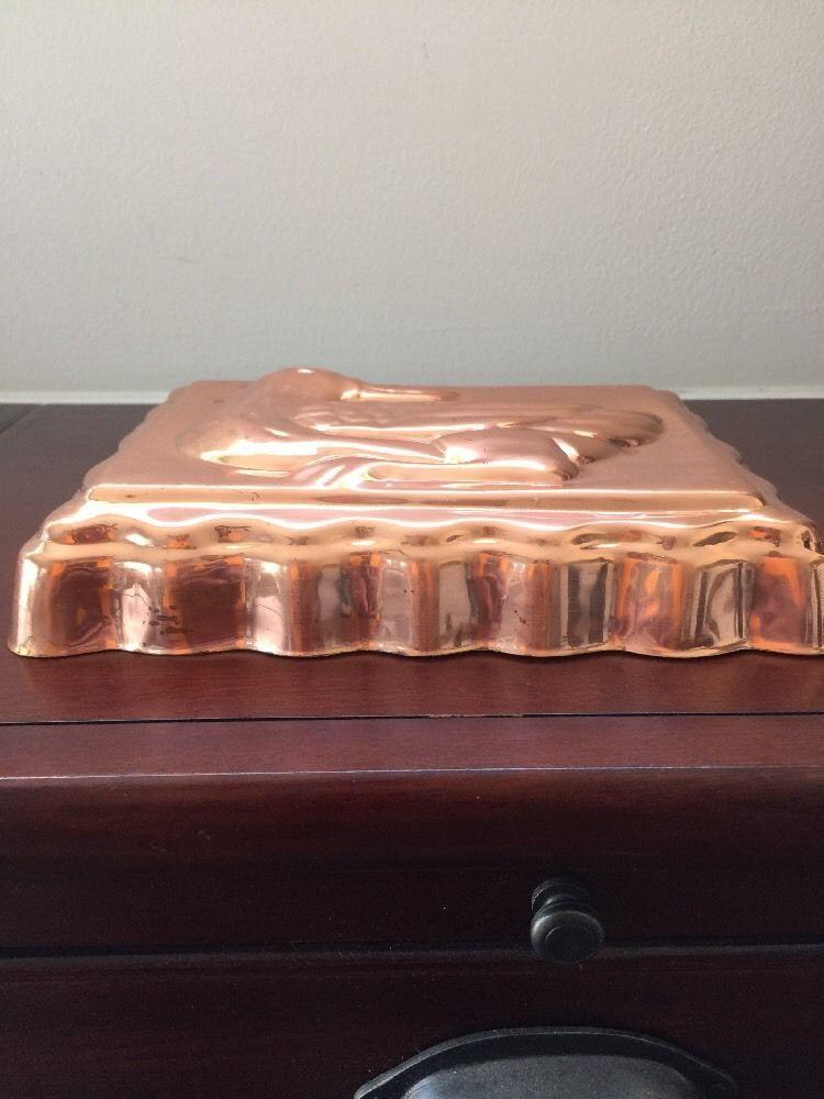 Vintage Copper Metal Tone Duck Ducky Jello Mold Rectangle Wall Decor image 7