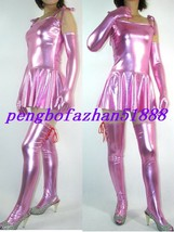 Sexy Pink Shiny Metallic Sexy Women Dress With Long Gloves & Sock S434 - $45.99