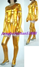 SEXY GOLD SHINY METALLIC SEXY WOMEN DRESS WITH LONG GLOVES & SOCK S436 - $45.99