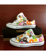 Donut Design Converse Chuck Taylor Hand Painted Shoes Low Top White Snea... - $159.00