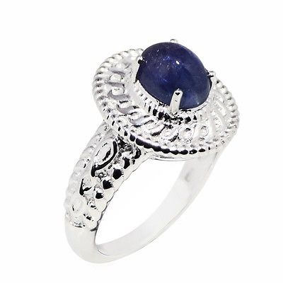 Solid Handmade Wedding Ring for Women with Tanzanite Stone Ring Sz 6.5 SHRI0688
