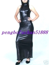 HALLOWEEN FANCY DRESS COSPLAY SUIT BLACK SHINY METALLIC SEXY WOMEN DRESS... - $39.99