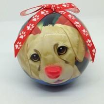GOLDEN RETRIEVER DOG CHRISTMAS ORNAMENT Ball Red Light Up Nose Twinkling... - $6.78