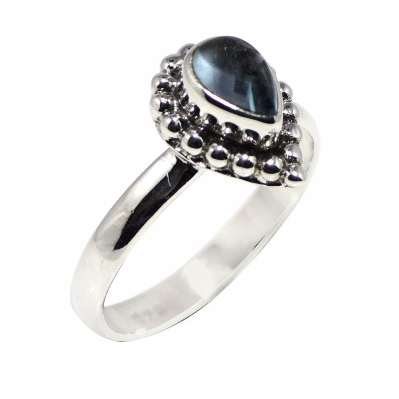 Pear Shape 7X5 MM Blue Topaz Gemstone 925 Sterling Silver Ring Sz 7.5 SHRI0696