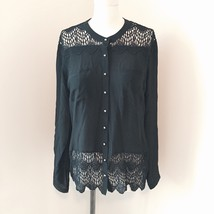 """NWT $145 HEARTLOOM """"Keaton"""" Black Silk Lace Long Sleeve Blouse Silver Buttons XS - $65.00"""