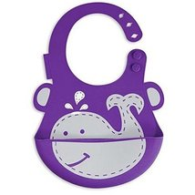 Durable and Colorful Cartoon Dolphin Button Silicone Baby Bibs Pocket Meals image 2