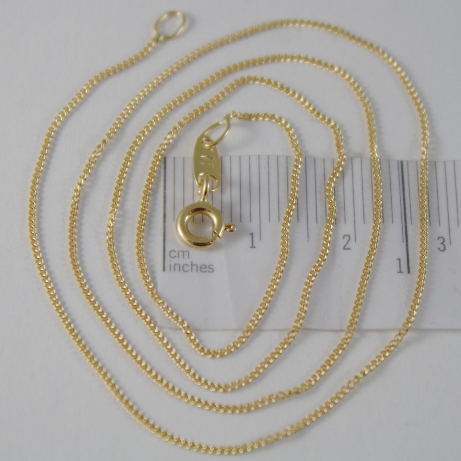18K YELLOW GOLD CHAIN 17.7 MINI CUBAN CURB GOURMETTE MESH 0.9 MM, MADE IN ITALY